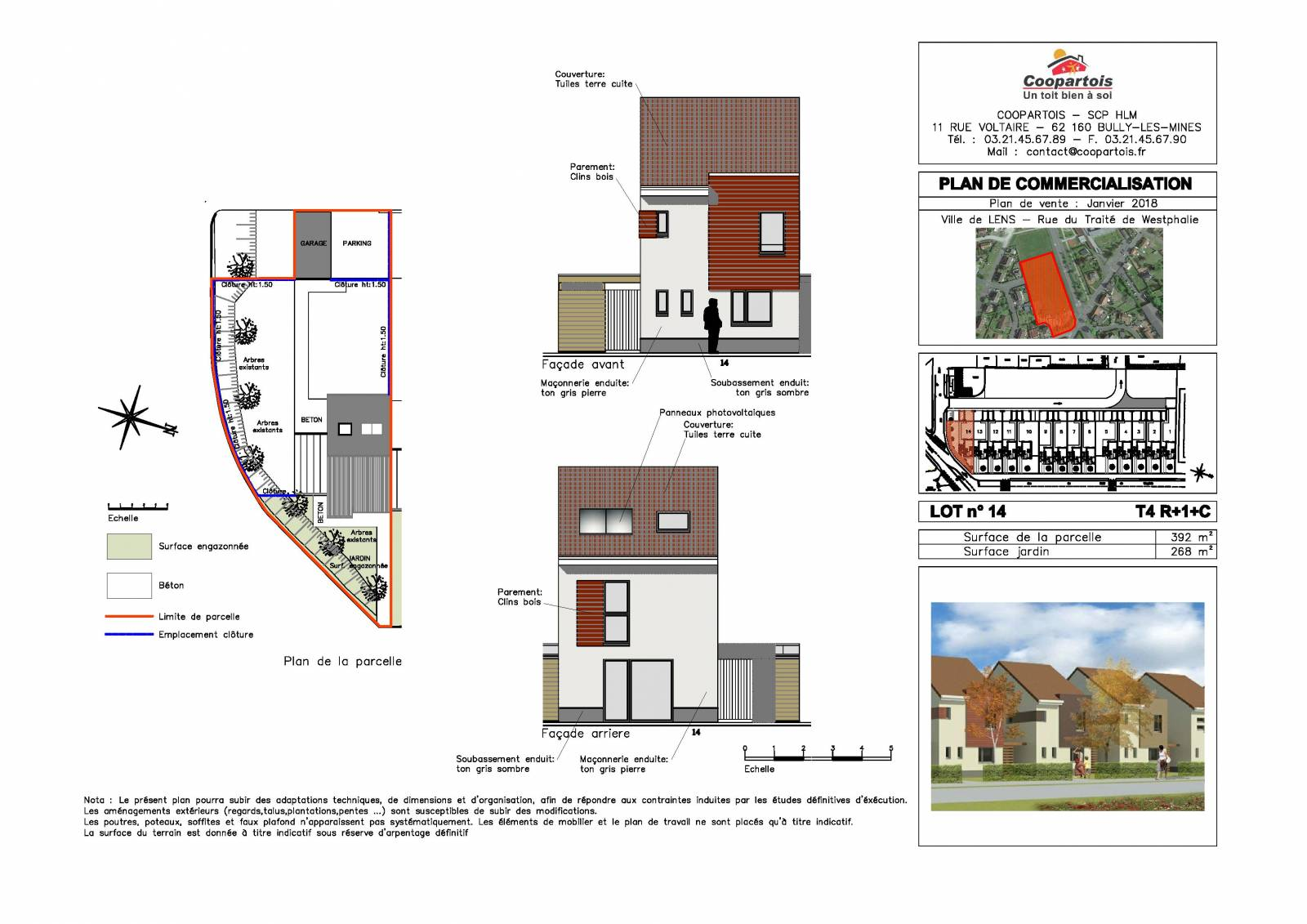 Maison neuve 3 chambres duplex n 14 coopartois for Plan de maison duplex 3 chambres